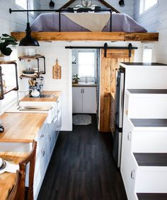 Modern Take Two by Liberation Tiny Homes Tiny Living IKEA cabinets a 24 farmhous. Modern Take Two by Liberation Tiny Homes Tiny Living IKEA cabinets a 24 farmhouse sink and a electric cooktop c. Modern Tiny House, Tiny House Living, Tiny House Plans, Tiny House Design, Tiny House On Wheels, Tiny House Bedroom, Modern Homes, Living Room, Loft Stairs
