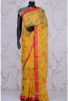 Blended Chiffon Zari-Yellow-Printed-WK1099 Floral Print Sarees, Printed Sarees, Floral Prints, Yellow Print, Chiffon, Sari, Design, Fashion, Silk Fabric