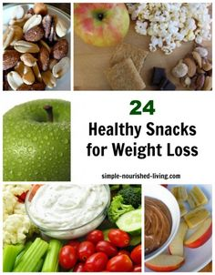 24 healthy snacks for weight loss. All with Weight Watchers Points Plus http://simple-nourished-living.com/2012/03/24-healthy-snacks-for-weight-loss/