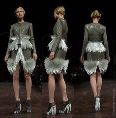 Silver Triptych - Iris Van Herpen Haute Couture show.  January 2012, Paris.