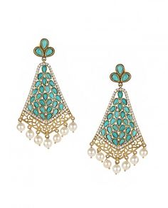 Turquoise Dangling Earrings with Pearl Drops - Amethyst by Rahul Popli - Designers