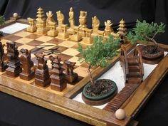 Samurai chess set -- complete with zen garden.
