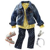 Ready for a ride, this combo captures her spunk with girly details and bright shade. Top it off with a classic denim jacket for outdoor adventures.