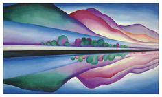 Georgia O'Keeffe (American, 1887-1986), Lake George Reflection, c. 1921-22. Oil on canvas, 147.3 x 86.4 cm.