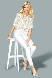 Lace with jeans and heeled sandals.