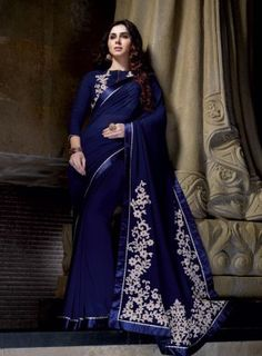 Flamboyant Navy Blue Georgette Saree with Designer Blosue Fabric - Georgette Saree Work :- Butta Work, Lace, Resham Paired with the matching blouse piece. Party Wear Sarees Online, Party Sarees, Designer Sarees Wedding, Latest Designer Sarees, Desi Wedding Dresses, Saree Wedding, Wedding Wear, Beautiful Saree, Beautiful Dresses