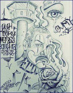 Tattoo Design Drawings, Pencil Art Drawings, Art Drawings Sketches, Cartoon Drawings, Arte Cholo, Cholo Art, Chicano Art Tattoos, Chicano Drawings, Prison Drawings