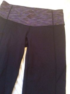 Athleta Small Petite Fitness Pants Black Purple Striped Waist Yoga Running