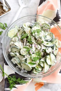 Creamy Yogurt Cucumber Salad Recipe @foodiecrush