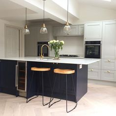two-tone kitchen strikes just the right balance between modern and refined. Open Plan Kitchen Diner, Kitchen Diner Extension, Open Plan Kitchen Living Room, Two Tone Kitchen, Home Decor Kitchen, Kitchen Interior, Navy Kitchen, Kitchen Ideas, 1930s House Interior Kitchens