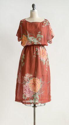 Vintage Rust Floral Dress / Vintage Midi Floral Dress / Soraya Carnations Dress