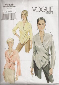 Vogue V7828, Sewing Pattern, Misses Top, Size 18, 20, 22,  Sewing Supplies, Out of Print by OhSewWorthIt on Etsy