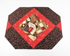 Coffee Placemats, set of TWO Quilted Place Mats in Brown and Red with Coffee Designs and Coffee Beans, Total of SIX available