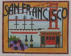 Denise Derusha Designs San Francisco Hand Painted Needlepoint Canvas 18 Count | eBay