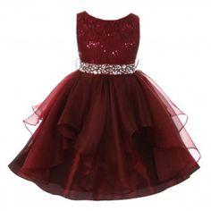 Big Girls Burgundy Lace Crystal Tulle Ruffle Flower Girl Dress 8-14