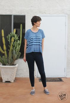 Try mixing and matching different widths of stripes in the same garment. You could find a fabric that has varied stripes, or create your own textile by piecing different fabrics together. / Blue Striped Scoopneck Knit Top Front, Lou Box Top from SewDIY.com