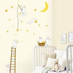 Decowall Decowall muursticker babykamer konijntjes op de maan | Kidzsupplies