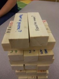 This conversation Jenga game is another great way of adapting an existing game into something more specific for your classroom. Write a question that students must answer every time they pull a piece. You could even have your students write their own questions as well. conversation starters, math problems, school, game night, reading comprehension, youth activities, convers jenga, bridal showers, kid