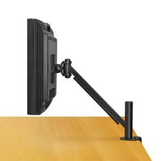 """Space-saving Fellowes® Designer Suites™ Flat Panel Monitor Arm elevates monitors to comfortable viewing height to prevent neck strain. Easy to mount – two piece clamp mounts monitor between desk and cubicle wall. Height adjustable arm moves up or down to five positions (1"""" increments each). Supports monitors up to 20 lbs. Tilts up or down +/- 45°, pivots left to right 180°, and allows 360° screen rotation. Clamps to surfaces up to 2 ½"""" thick (2"""" desk overhang required) or mounts in grommet hole. Tabletop Tv Stand, Universal Tv Stand, Cubicle Walls, Neck Strain, Jet Woodworking Tools, Tv Bracket, Flat Panel Tv, Adjustable Height Desk, Lcd Monitor"""