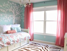 Blue pink zebra area rug girls bedroom
