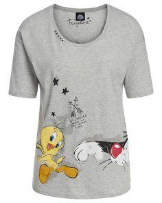 Frogbox T-Shirt mit Comic-Print - grau-meliert Jetzt auf kleidoo.de bestellen! #kleidoo #shirt #top #comic #ptint #grau #frogbox
