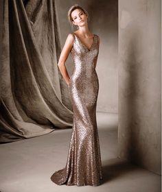 CORELA - Vestido de festa com decore em bico Pronovias