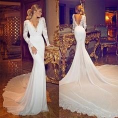New Sexy Deep V-Neck Backless Wedding Dresses Mermaid Lace Long Sleeve Applique Chiffon Bridal Gowns Beautiful Spring Wedding Gown
