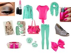 """""""Pink in blue"""" by mckalawilliams on Polyvore"""