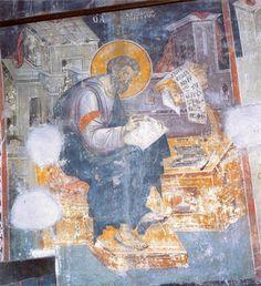 Mark the Evangelist.Athos by Manuel Panselinos. Close Up Art, Orthodox Icons, Illuminated Manuscript, Byzantine, Fresco, Holi, Christianity, Ikon, Religion