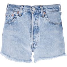 Levi's Vintage Clothing Frayed Shorts (58 CAD) ❤ liked on Polyvore featuring shorts, bottoms, short, pants, blue, levi's, frayed shorts, cotton shorts, levi shorts and blue cotton shorts