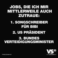 Jobs, die ich mir mittlerweile auch zutraue: 1. Songschreiber für Bibi 2. US Präsident 3. Bundesverteidigungsminister