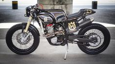 Dirty deed. A Husqvarna TE510 dirt bike is transformed into a tidy cafe racer by Mexico's ZDR Custom Moto - via returnofthecaferacers.com