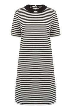 All | Black COLLARED TEXTURED STRIPE DRESS | Warehouse