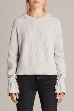 ffff4ca2b713e AllSaints New Arrivals  Eloise Sweater. An oversize knit made from soft  cotton. Long sleeves with ties in each cuff to create a bell shape.
