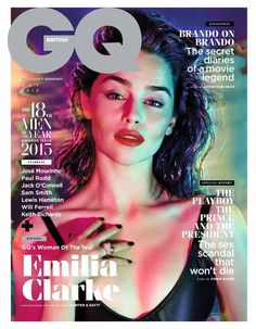 'Game of Thrones' star Emilia Clarke graces the October 2015 cover of GQ UK, wearing a slicked back hairstyle with a red pout and shimmering eyeshadow. The brunette stunner was named the magazine's annual Woman of the Year. Photographed by Hunter & Gatti, Emilia stuns while wearing looks from the likes of Balmain and Dior …