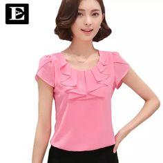 43a9bc788 R$ 64.43 |EveingAsky Escritório Camisas Das Mulheres Blusas Branco Rosa  Roxo Elegante Das Senhoras Blusa de Chiffon de Manga Curta Das Mulheres  Encabeça ...