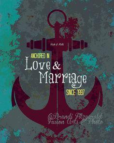 In Liebe & Ehe verankert. Benutzerdefinierte Hochzeit nautischen Print. Fusion Paintographic Hampel Fotoabzug