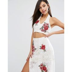 Love Triangle Lace Crop Top With Floral Embroidery Co-Ord (49 AUD) ❤ liked on Polyvore featuring tops, white, halter top, halter crop top, halter-neck crop tops, crop top and bodycon crop top