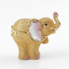 Golden Jeweled Elephant Trinket Box