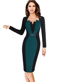 VfEmage Womens Elegant Colorblock Contrast Work Business Casual Pencil Dress  8123 GRN 12 at Amazon Women's