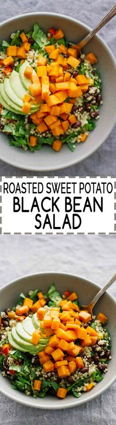 Roasted Sweet Potato Black Bean Salad! Gluten-free, vegan, vegetarian, and super easy to make! Perfect for a quick weeknight dinner. Make it in bulk and have it throughout the week!
