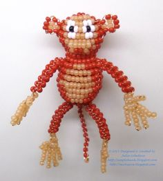 Free beading pattern with tutorial on how to make a monkey out of seed beads and wire in the technique of 3D beading. Great for beginners!