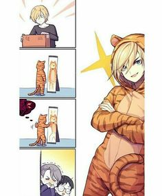 Viktor, Yuuri, Yurio, cute, funny, tiger, onesie, mirror, laughing, comic; Yuri!!! on Ice