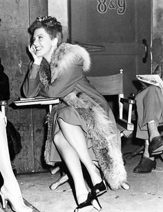Jean Arthur on the set between takes. #vintage #1940s #actresses