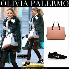 Olivia Palermo in green fur coat with blush black tote and black Nike sneakers