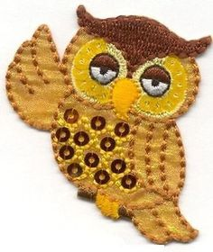 Iron On Embroidered Applique Patch Whimsical Sequin Owl Waving Wing