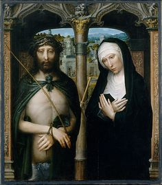 Adriaen Isenbrant - Christ Crowned with Thorns (Ecce Homo), and the Mourning Virgin, ca. 1530–40, Oil on canvas, transferred from wood