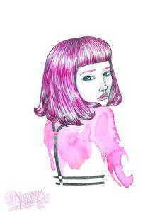Harness. Pink hair. Watercolor portrait by Natasha Tsozik.