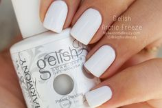 "use gelish arctic freeze (usually used for white tips) as ""undies"". ""Undies"" meaning: it acts as a strengthener (no more breaking nails) and base coat to normal acrylics (need only one coat of your color). Use normal nail polish remover to change your color."