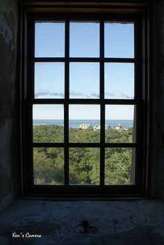 One of the windows half way up Old Baldy Lighthouse. Bald Head Island, Bald Heads, Heaven On Earth, Lighthouse, Windows, Pretty, Bell Rock Lighthouse, Light House, Window